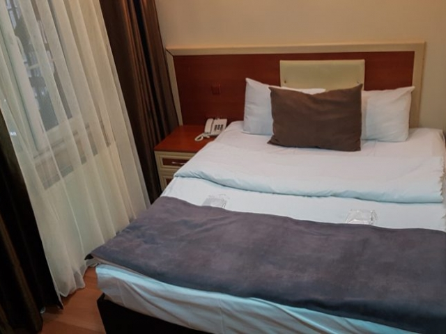 This is one of the smallest rooms that I ever stayed in, but it was right on the Istiklal street, so close to everything