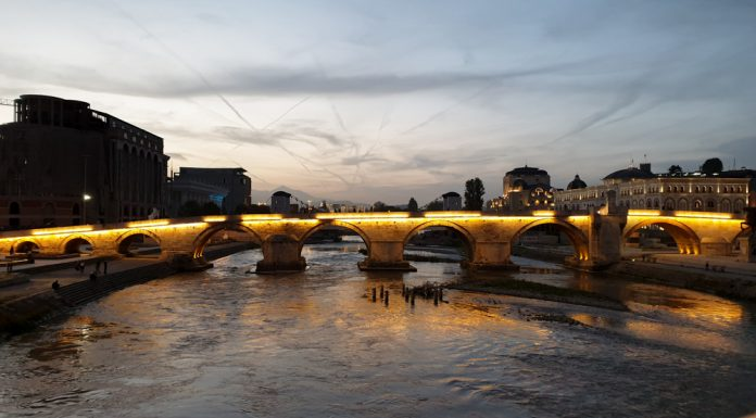 The stone bridge at sunset in Skopje North Macedonia
