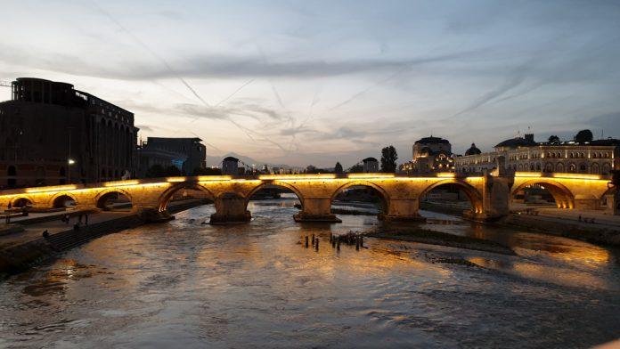 The stone bridge at sunset in Skopje North Macedonia