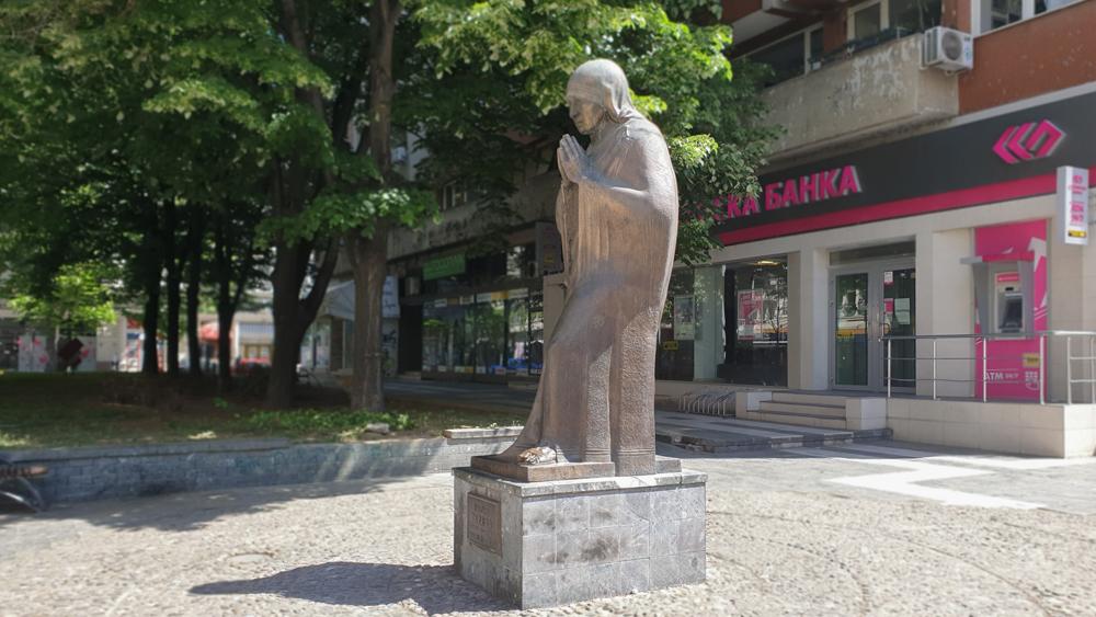 The statue of Mother Teresa in Skopje, North Macedonia
